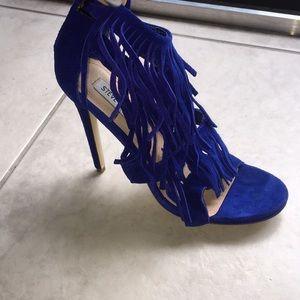 Blue Suede Fringe Heels